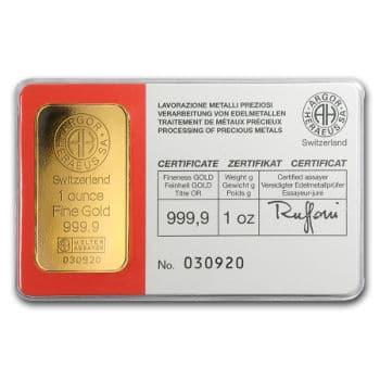 1 oz Argor-Heraeus Gold Bar
