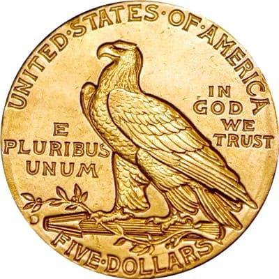 $5 Indian Head Half Eagle Reverse