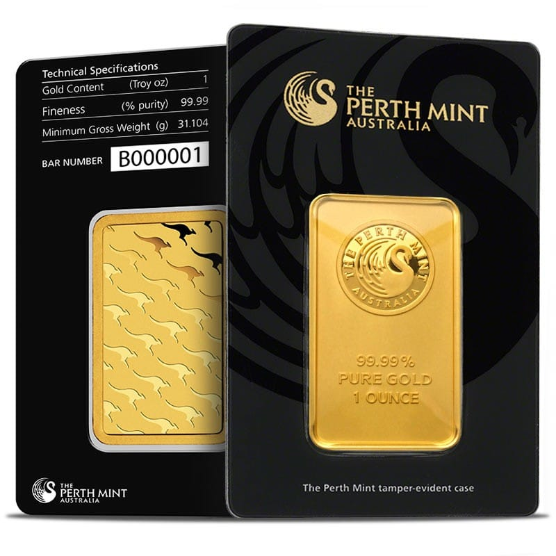 Front & Back of the 1 oz Perth Mint Gold Bar